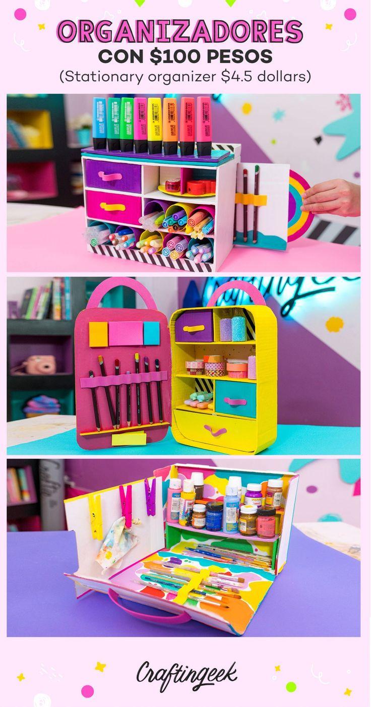 Organizadores de escritorio_Portada Easy Mother's Day Crafts, Fun Crafts, Diy And Crafts, Cardboard Crafts, Paper Crafts, Diy Desktop Organizer, Art Supplies Storage, 5 Minute Crafts Videos, Slime
