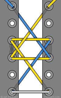 Star of David shoelace pattern
