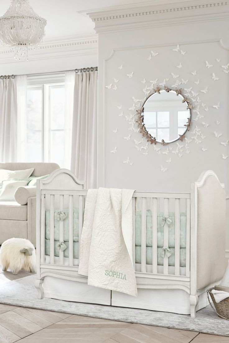 Inspired by the energetic movement and whimsy of childhood, this garden nursery by Monique Lhuillier is like stepping into a real-life fairytale. The Remy Crib has three different adjustable mattress heights to grow with a baby. Calming seafoam floral bedding make the nursery just as peaceful for sleep-deprived new parents too. :)