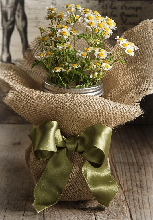 Burlap-wrapped mason jar