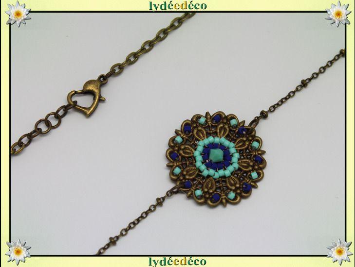 Headband vintage fleur estampe et perles de verre vert turquoise bleu bronze : Accessoires coiffure par lydeedeco