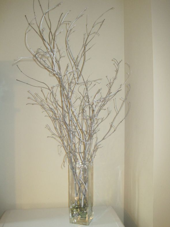 Winter Wedding Silver Branches :  wedding blue branch branches centerpiece centerpieces diy reception silver winter IMG 6412