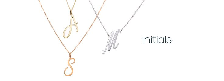 Initials by me∙mi. Choose your initial as a pendant with chain or as a necklace. Available in silver, 9kt yellow gold or 9kt rose gold.