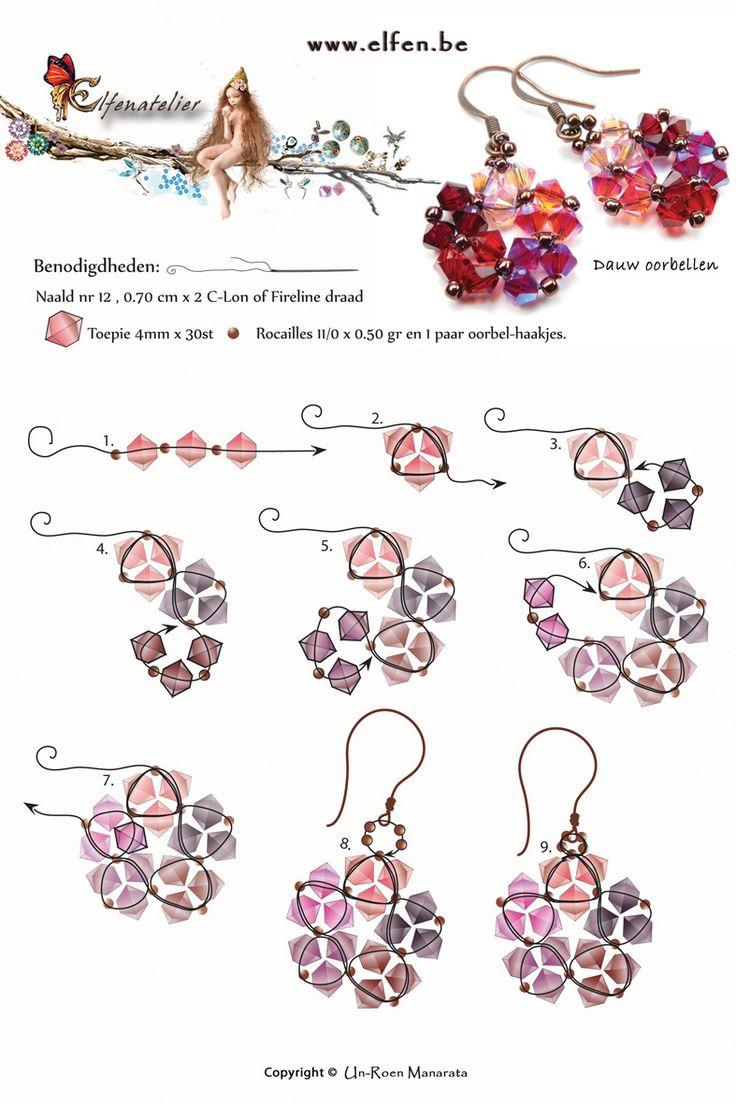 Dauw in het Thais betekent STER. Deze oorbellen zijn leuk voor de feestdagen of als een cadeautje. Ze zijn heel gemakkelijk om te maken! De kleur combinatie kan je zelf kiezen. Materialen om het te maken zonder naald en draad is +/- 5.70 euro http://www.elfen.be/index.php?pag=600&alid=38