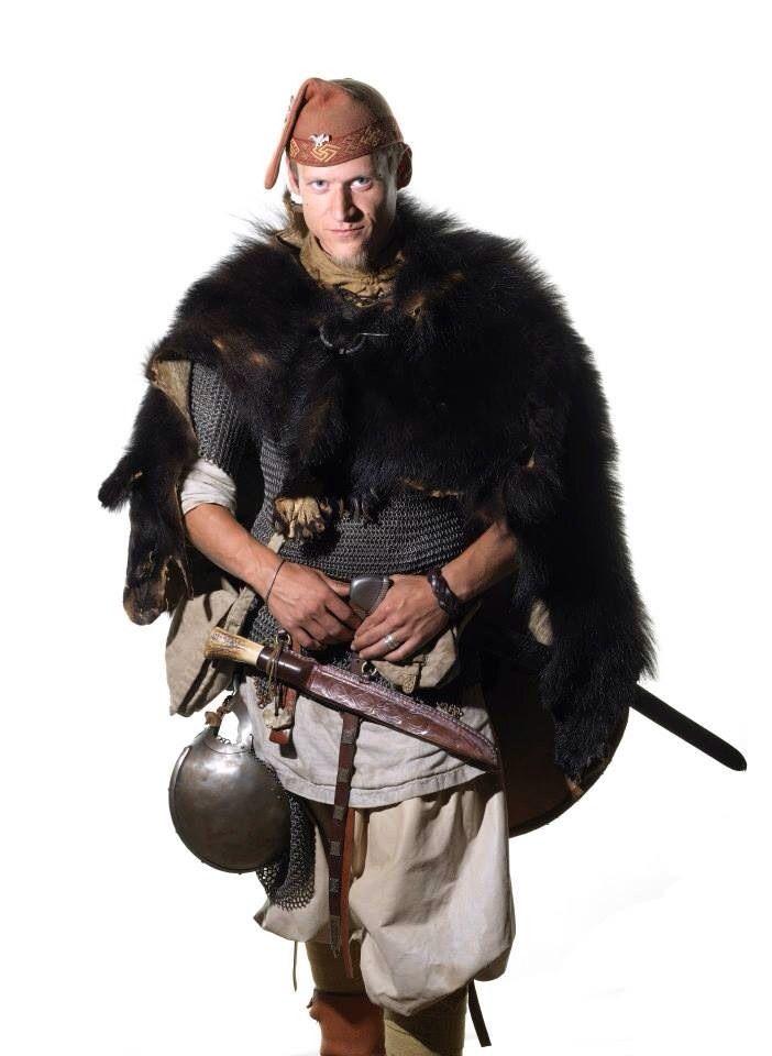 Danish men in authentic Viking costumes, by Jim Lyngvild