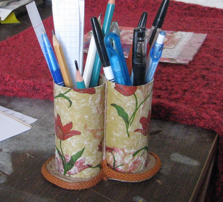 Pencil holder by hand.