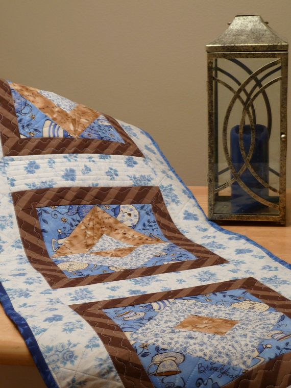 Handmade Quilted Table Runner Brown Blue