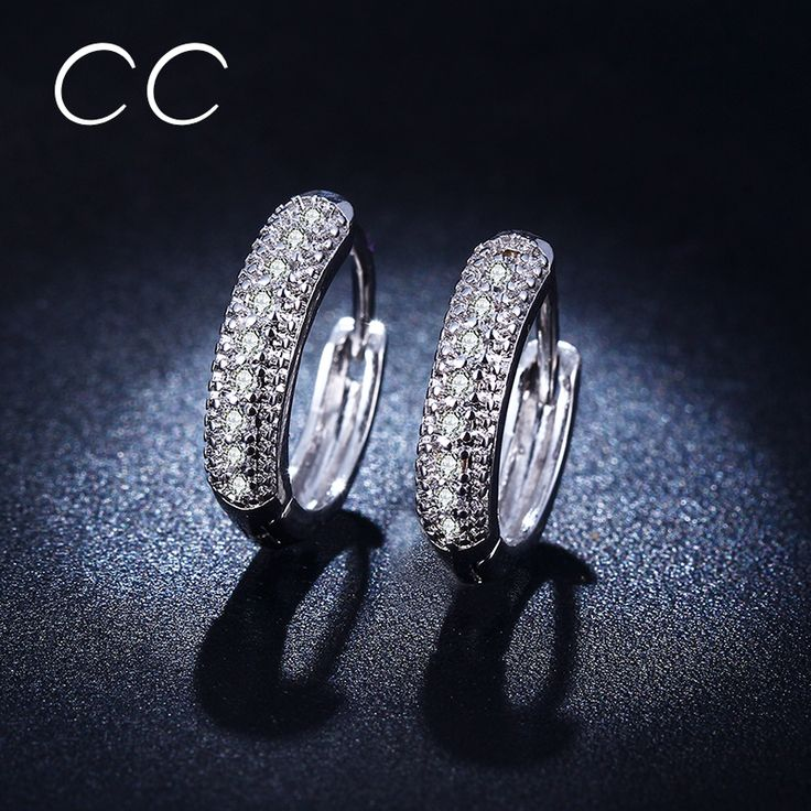Vintage CZ Imitated Diamond Small Hoop Earrings For Women White Gold Plated Fashion Jewelry Earring Boucle d'oreille CCE018
