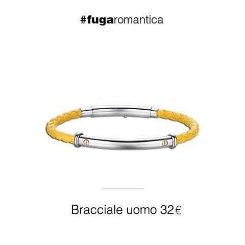 Bracciale in acciaio con viti in IP rosa e cordino in pelle sintetica gialla Luca Barra Gioielli. #lucabarra #jewels #manjewels #newcollection #mood #outfit