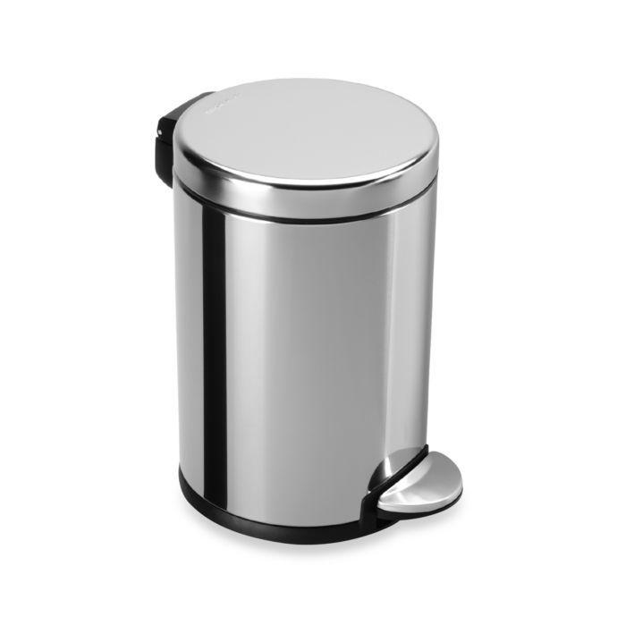 Simplehuman Fingerprint Proof 4 5 Liter Round Step Trash Can Bathroom Trash Can Steel Bath Simplehuman