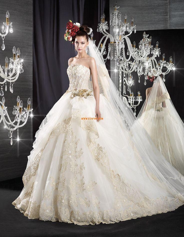 Kert / Kültér Pánt nélküli Természetes Menyasszonyi ruhák 2015