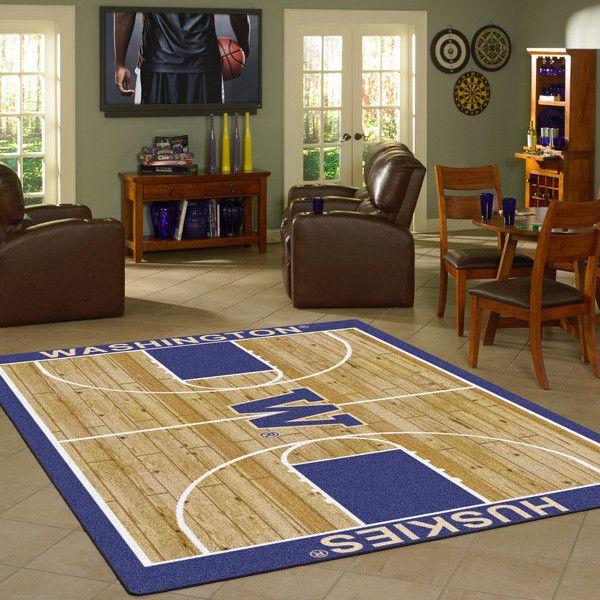 Washington Huskies NCAA Home Court Basketball Rug