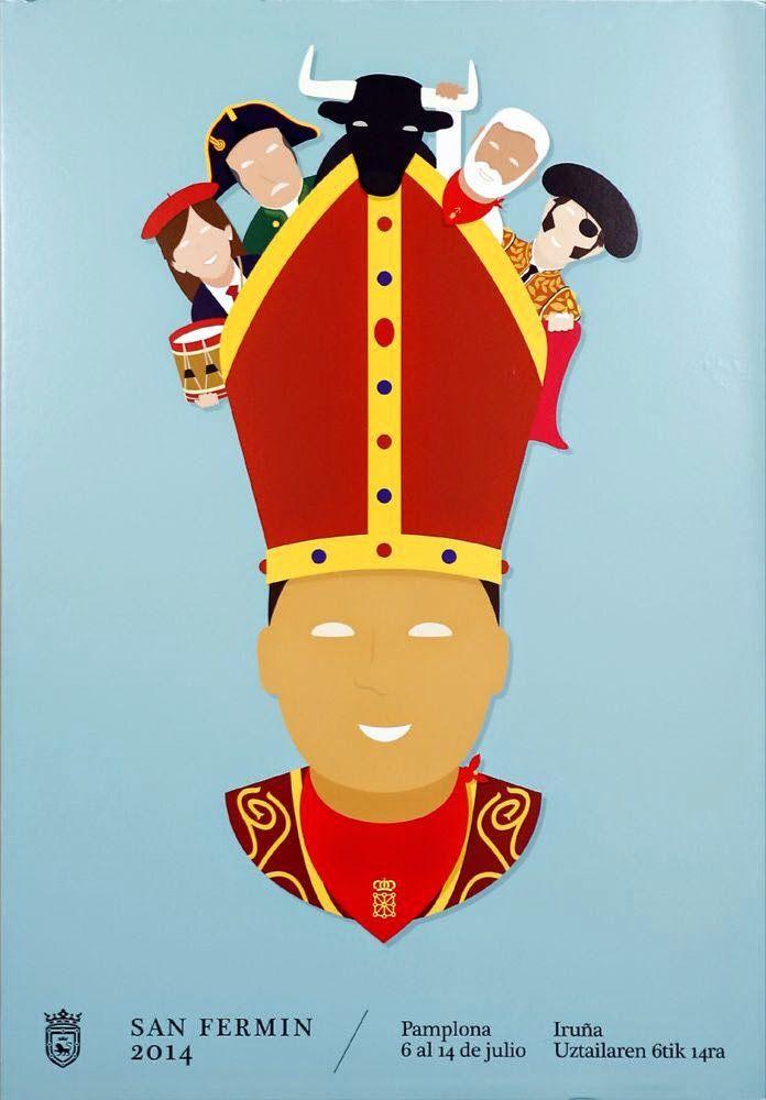 Poster of the fiestas de San Fermín, Pamplona, 2014, Spain.