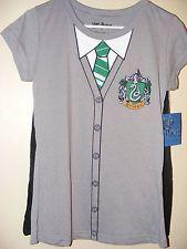 Nuevo De Harry Potter señoras Hogwarts Shirt & Cape Jrs-Slytherin-Xl 15/17-el