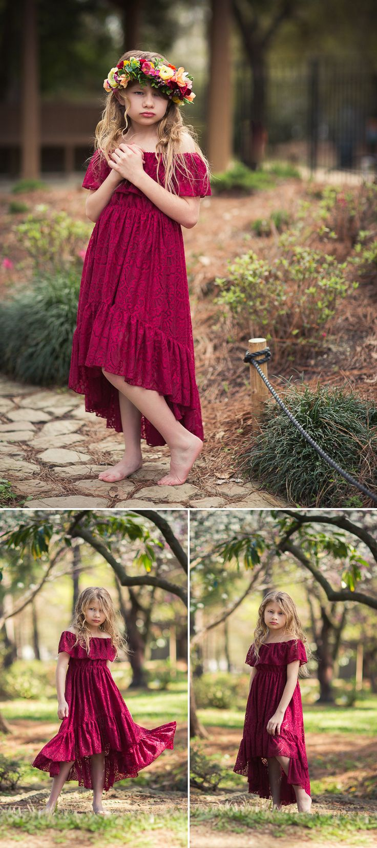 Burgundy lace high low dress can be worn as a flower girl dress, junior bridesmaid dress, for a boho mommy and me photoshoot.