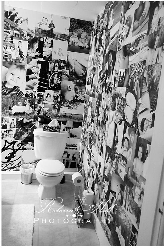 photo wall idea...looks like the bathrom of a houlihan's but good still