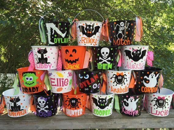 Halloween bucket: Personalized Halloween bucket pail - many designs - trick or treat