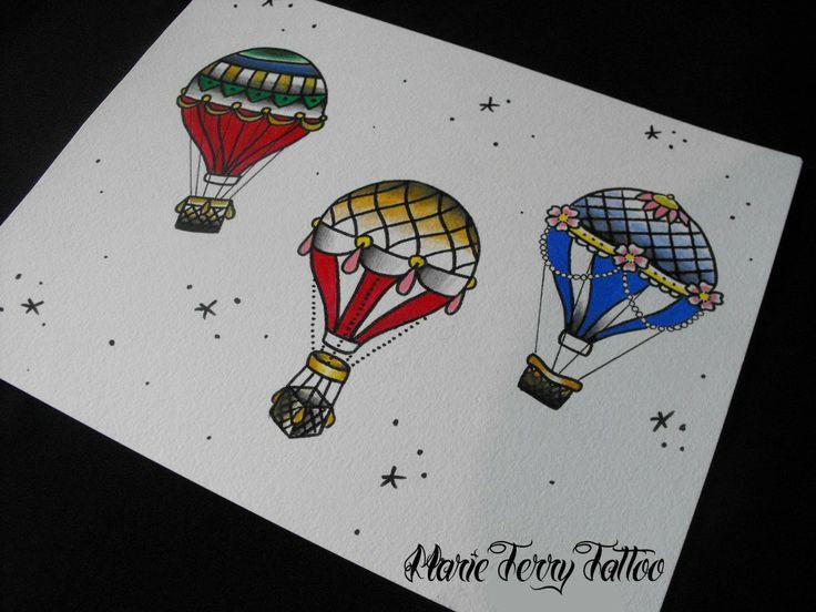Hot Air Balloon, Old School Tattoo Designs by Marie Terry - London Tattoo Artist / Studio / Shop.