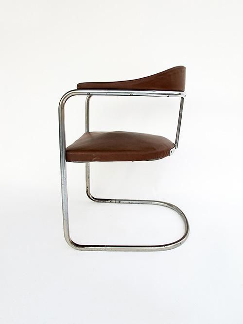 Hans And Wassili Luckhardt; Chromed Tubular Metal And Leatherette Chair For  Thonet, 1930s.