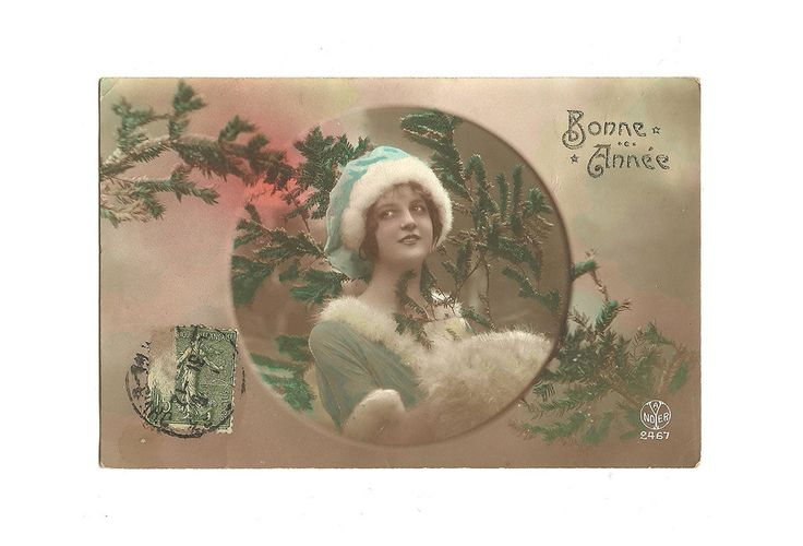 French Colorized Postcard Colorized Photo Happy New Year 1918, Woman dressed as Santa Claus Scrapbooking Mixed Art Collage, Collectible Card