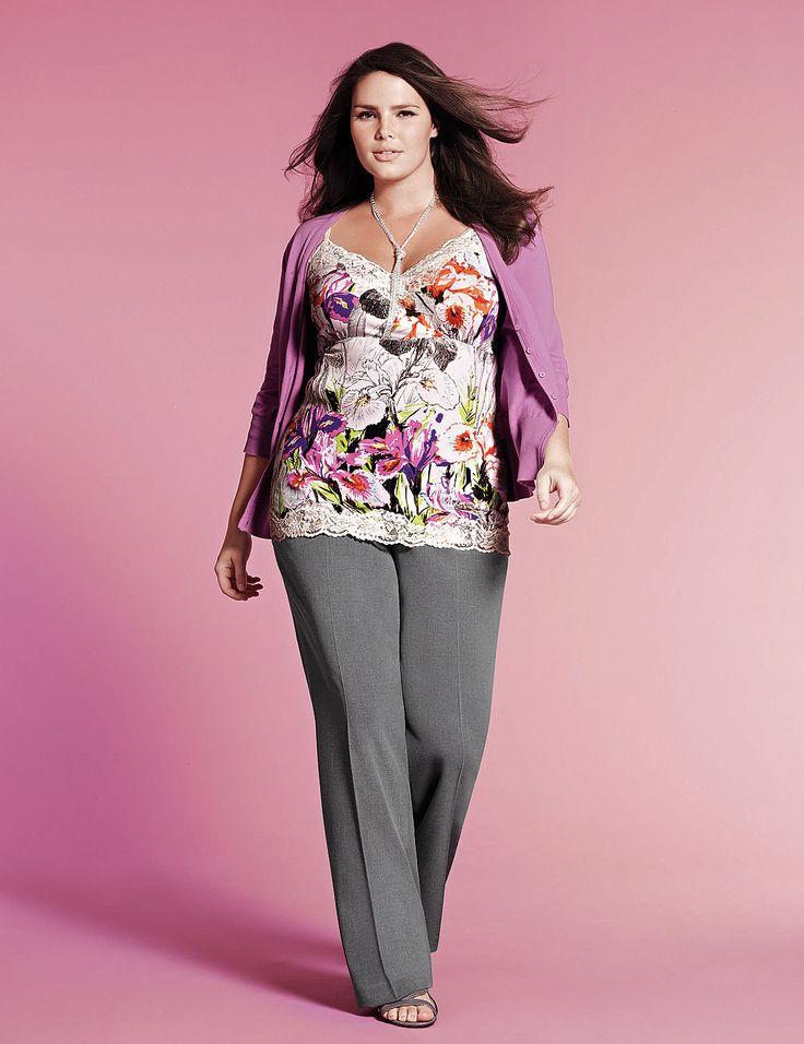 Cardigan, floral cami, classic trouser pant