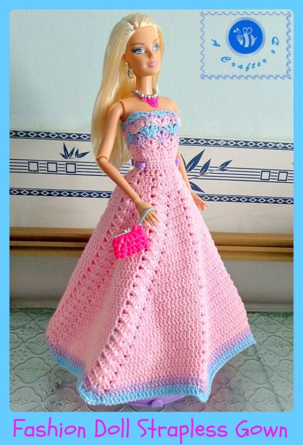 Crochet fashion doll strapless gown - Maz Kwok's Designs