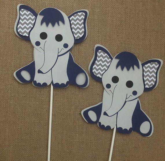 Elephant centerpieces stick// Navy blue and gray elephant// Elephant baby shower