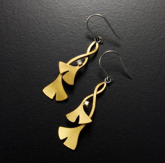 Ginkgo earrings with diamonds by KAZNESQ on Etsy