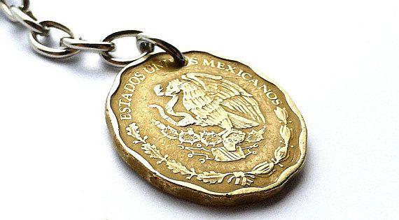 Mexican, Coin charm, 1997, Bird charm, Women's accessory, Purse charm, Eagle charm, Mexican keychain, Handbag charm, Repurposed coin, Coins