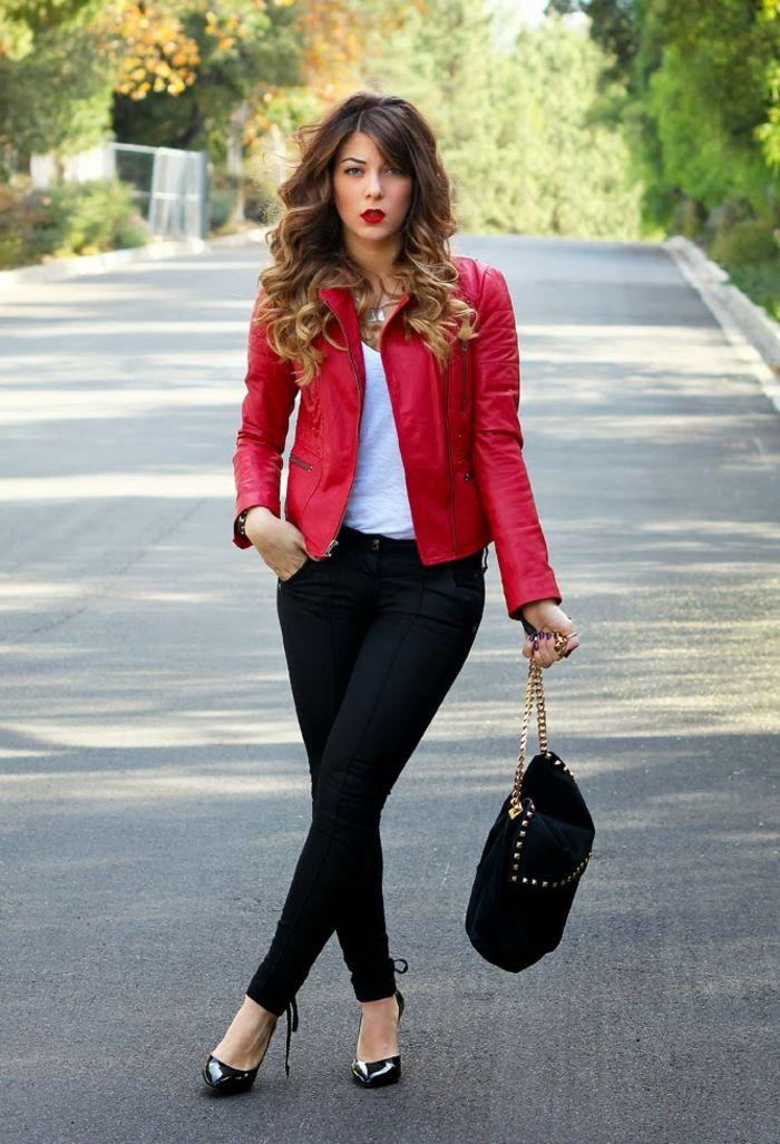 Rote Lederjacke als Akzent: 55 Bilder! | Fashion, Style
