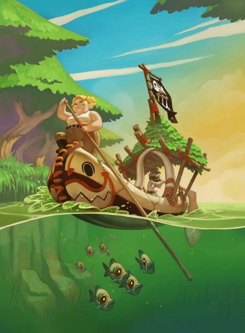 Isla Dorada Funforge - This game has adapted a rather cartoon style to present the initial ideas for their game. I think continuing to develop this game in this style would result in a positive result. The graphic style isn't too common, and works well with the environment in the image.