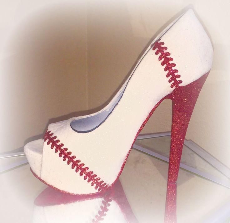 White or ivory glitter heels red baseball stitch red bottom soles womens  high or low heel - Best 20+ Baseball High Heels Ideas On Pinterest Baby Gender