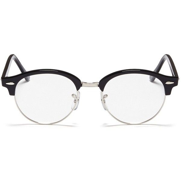 Ray-Ban 'Clubround Optics' acetate browline round optical glasses ($160) ❤ liked on Polyvore featuring accessories, eyewear, eyeglasses, black, round eyeglasses, ray ban glasses, ray-ban eyeglasses, ray-ban eye glasses and rounded glasses