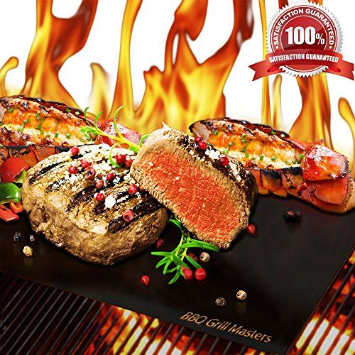 BBQ Grill Masters Premium Quality Grill Mat - Set of 4 + Grilling Recipe eBook - Works Great as a Baking Mat or Pan Liner - 100% Non-Stick and Reusable as Grill Pan or Griddle - Durable BBQ Grill Mats