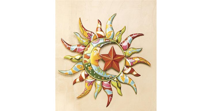 Talavera Painted Metal Sun And Moon Wall Art Moon Wall