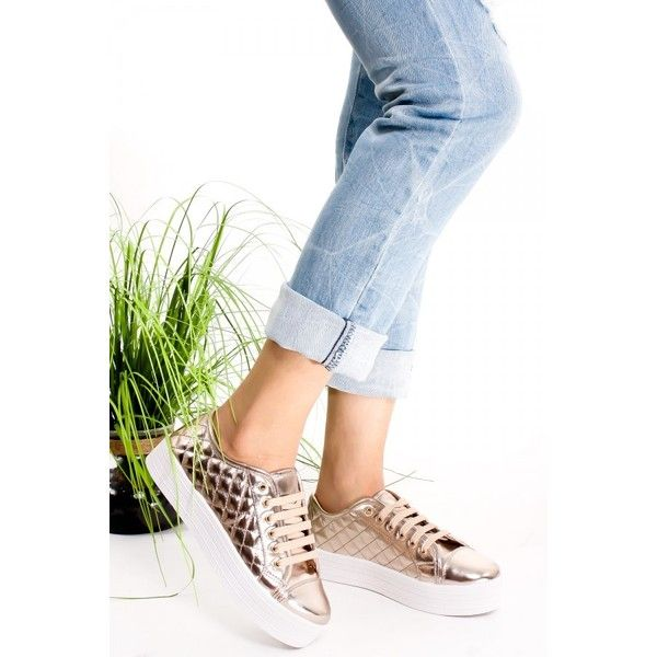 CHAMPAGNE ROUND TOE PLATFORM STITCHED LACE FAUX LEATHER CASUAL SNEAKER featuring polyvore women's fashion shoes sneakers champagne shoes vegan shoes vegan footwear round toe shoes platform trainers