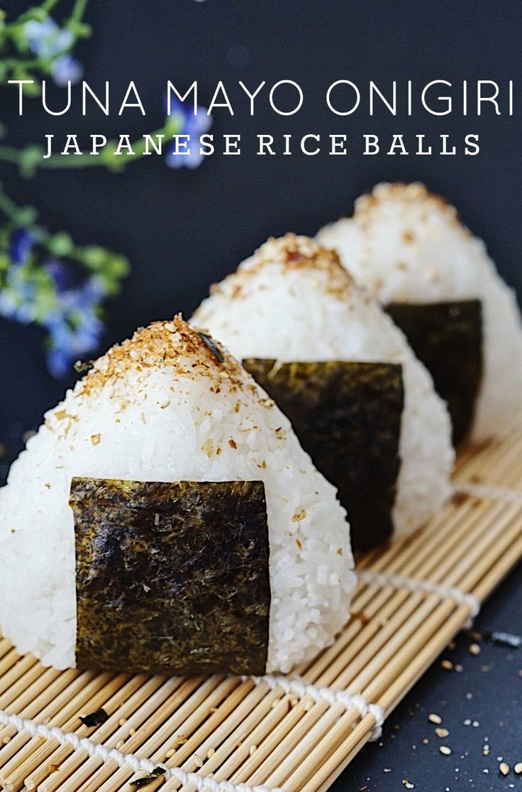 Easy and delicious tuna mayo onigiri (Japanese rice balls). Topped with Japanese seasoning and perfect for snacks or quick lunch!  #onigiri #japanese #riceballs