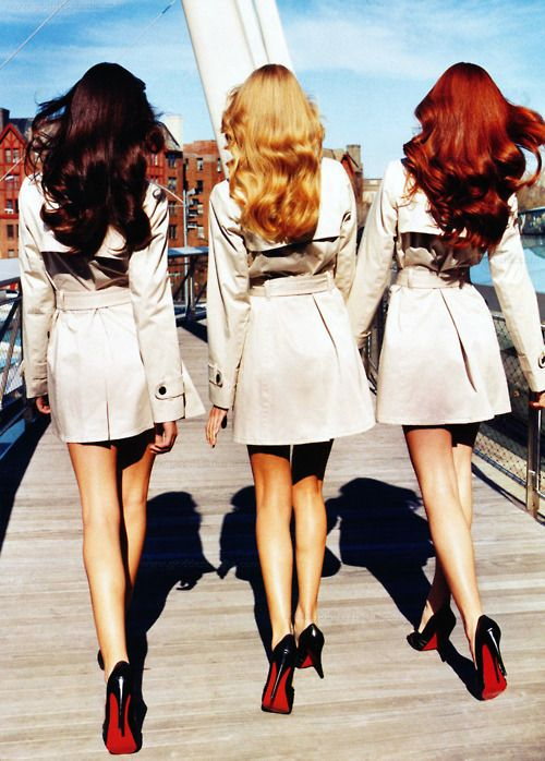 Louboutins: Shoes, Brunettes, Red Bottoms, Trenchcoats, Hair Colors, Style, Blondes, Redheads, Trench Coats