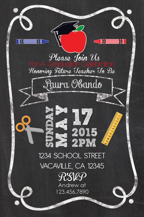 Teacher Graduation Party Invitation ChalkStyle 4x6 by PuzzlePrints