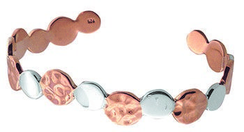 Tianguis Jackson Copper and Silver Multi Textured Circles Bangle
