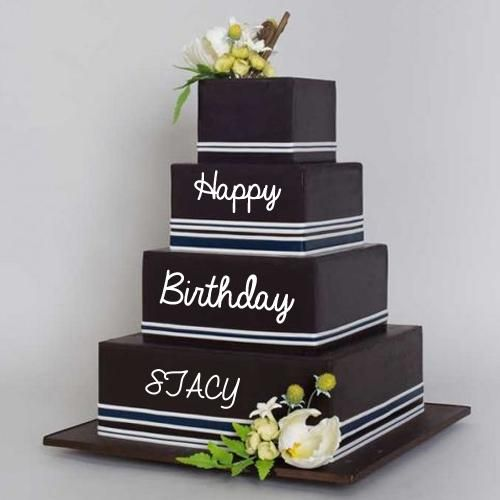 Write Name on Black Current Triple Decker Birthday Cake