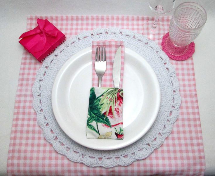 Jogo de Porta Guardanapo e Talheres Tropical Flamingo - A Prata da Casa
