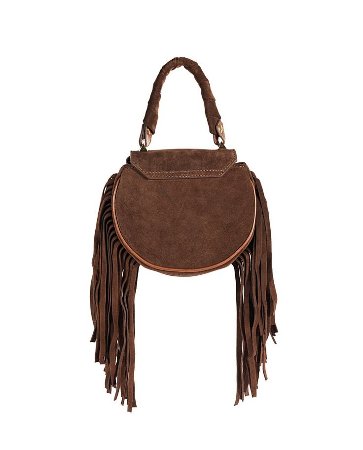 SALAR Brown leather handbag with fringes with twisted leather handle removable leather shoulder strap  star on the front flap inner lining turn lock on the front flap Size: 18x16x6 cm 100% Lambskin