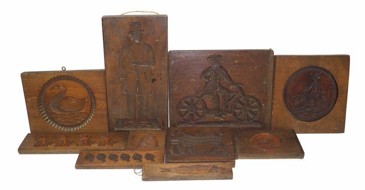 Een kavel van 10 diverse koek- en suikerbeestplanken, 19e en 20e eeuw, l. 12-45 cm, herkomst banketbakkerij Huize van Wely te Noordwijk