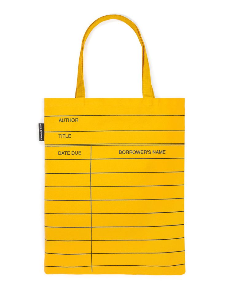 Library Card: Yellow tote bag - by Out of Print