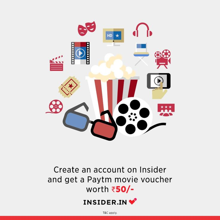 Create an account on Insider and get paytm movie Voucher worth Rs 50