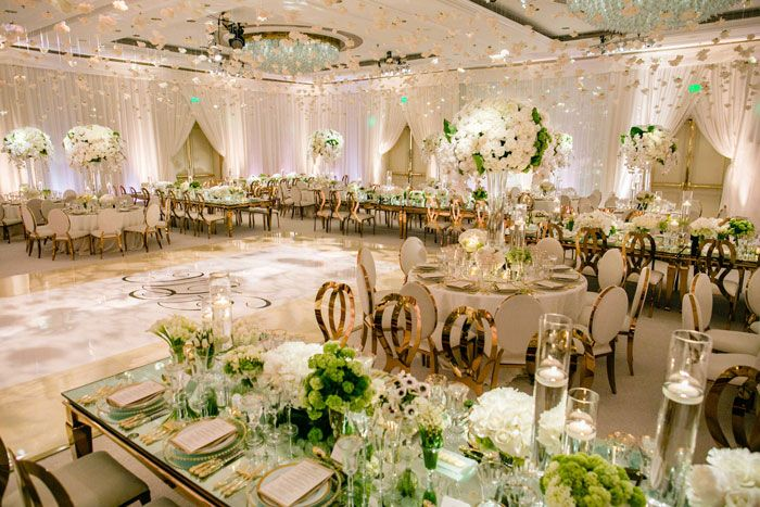 reception mariage rose gold