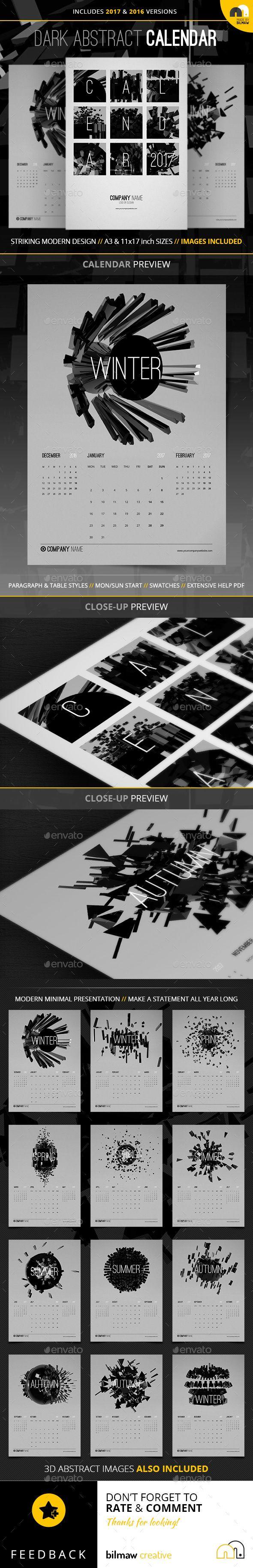Dark+Abstract+Calendar / Wall calendars / Template / Print / All artwork included.