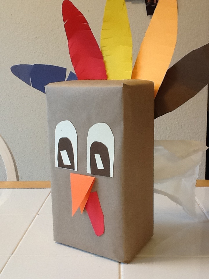 Thanksgiving turkey tissue box craft all supplies from the for Tissue box cover craft