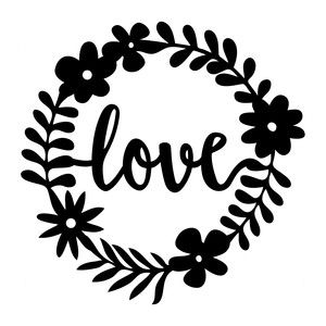 Silhouette Design Store: love floral frame